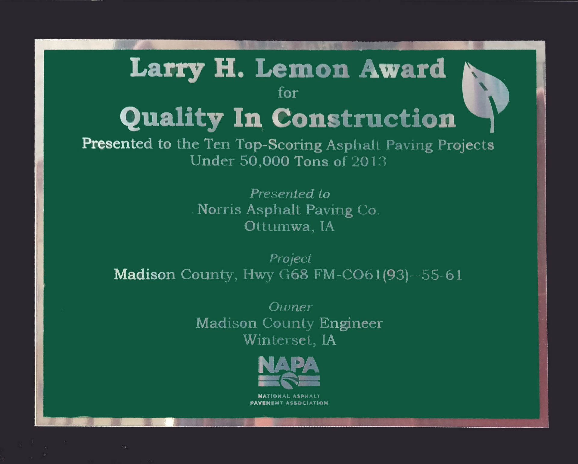 Larry H. Lemon Award