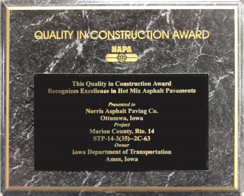 NAPA Quality in Construction Award