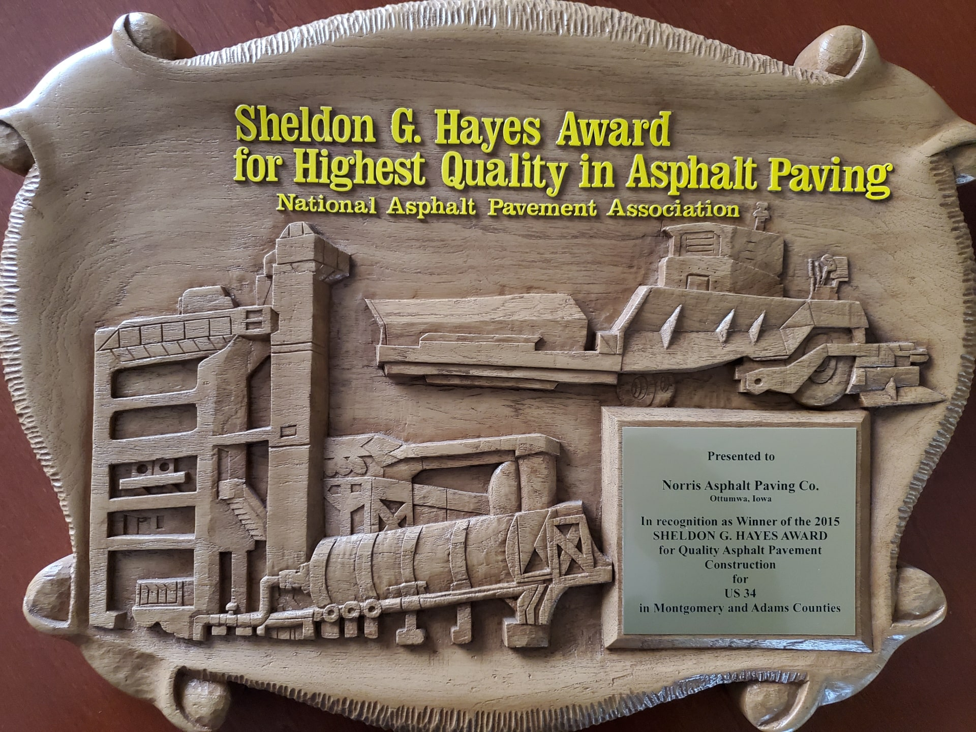 Sheldon G. Hayes Award for Highest Quality in Asphalt and Paving